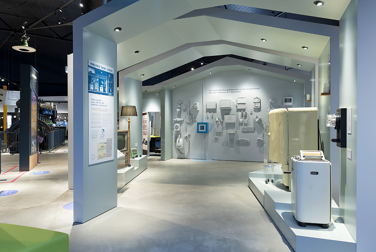 view of domestic appliance collection on display in museum