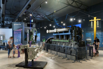 larger view of electricity museum with families playing with interactives