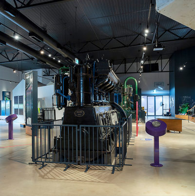 view of large engine inside a museum