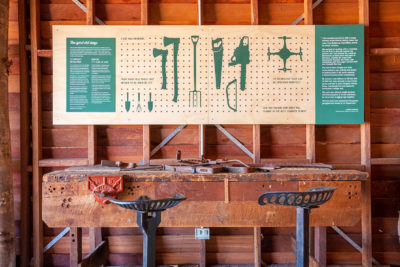 interpretative signage and workbench in agricultural display