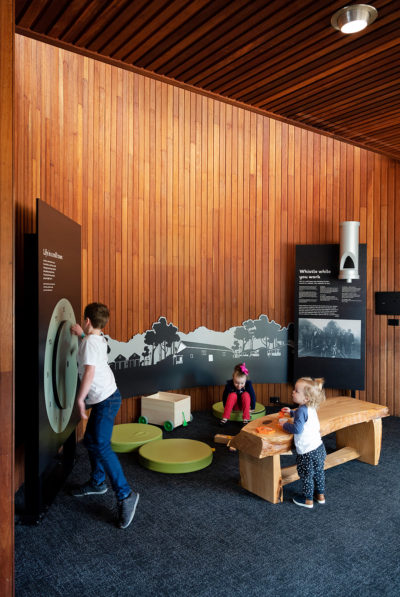 children playing in the timber museum