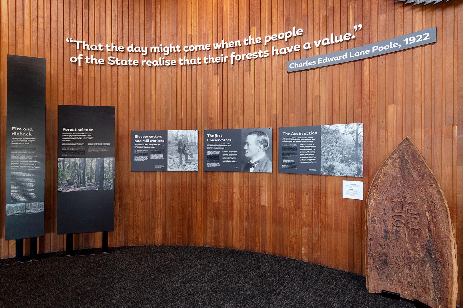 interpretative signage on timber clad walls